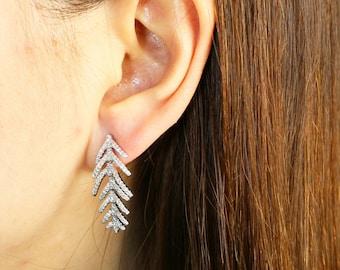 Leaf Earrings, Simple Earrings, Everyday Earrings, Drop Earrings, Dangle Earrings - Sterling Silver