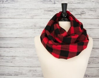 Plaid Infinity Scarf- Christmas Gift Idea for Her- Buffalo Plaid Scarf- Infinity Scarf- Red and Black Scarf- Christmas Scarf for Her