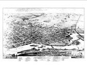 "Peterborough Ontario in 1875 Panoramic Bird's Eye View Map by Herman Brosius 22x16"" Reproduction"