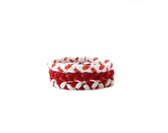 White Red Fabric Bracelets, Friendship Bracelets, Best Friend Gift, Fabric Jewelry, Friendship Jewelry, Valentines Day, Cotton Jewelry