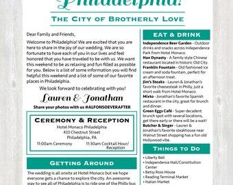 Welcome Letter, Wedding Welcome Letter, Hotel Welcome Letter, Wedding Weekend Itinerary, Philadelphia Wedding, Philadelphia, Printable