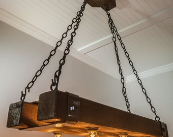 Double Barrel Beam Chandelier with Metal Straps And Edison Bulbs