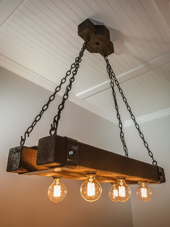 Double Barrel Beam Chandelier With Metal By