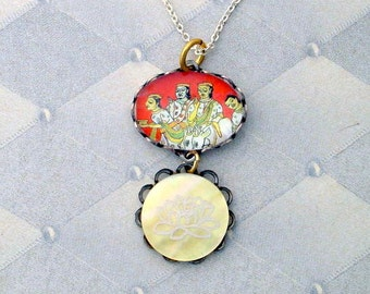 Vintage Postage Stamp Jewelry: Party with the Lotus Pendant Necklace