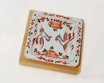 Vintage Asian Dish - Square Porcelain Handpainted Dish - IMARI Sanyo Porcelain Square Dish - Handpainted Birds - Asian Bird Dish