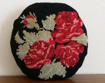 Vintage Needlepoint Floral Accent Pillow