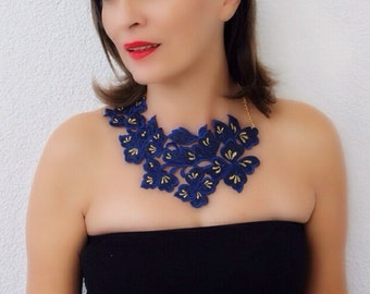 navy blue lace necklace, bib statement, fabric jewelry, gift for her
