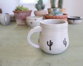 "Ceramic Coffee or Tea Mug // Southwestern Cactus Motif // High Fire Glaze // Black and White // 3"" wide x 3.5"" tall"