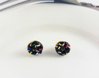 Rainbow Sprinkles Chocolate Iced Doughnut Earrings, Miniature Food Jewelry / cosplay