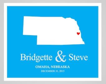 Nebraska Couple's State Map - Valentine's Gift, Wedding print, Anniversary Gift, Bridal Shower Gift, Housewarming Gift