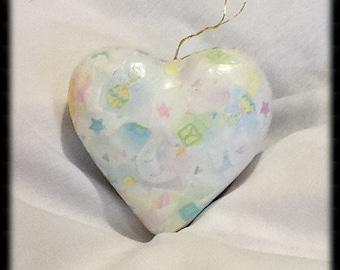 "Ornaments / 4"" Heart Ornament / Ornament for Baby / Expected Mother Ornament / Mother's Day / Baby's 1st Ornament / Paper-Mâché / jpcreative"
