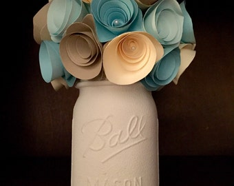 Rustic winter blue paper flower bouquet in a hand painted cream mason jar!