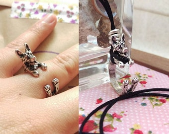 """German Shepherd Necklace & Ring """"2 in 1"""" Resizable, Silver."""