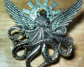 Mixed Metal Flying Octopus Brooch Steampunk Creature Cthulu Angel Style 3