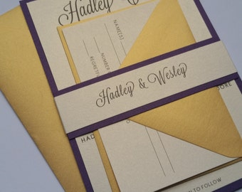 Purple Gold Script Wedding Invitations