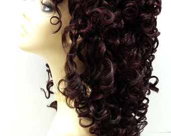 Southern Belle Mixed Black & Burgundy Long Curly Wig w/ Bangs. Spiral Curls Wig. Cosplay Wig.