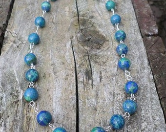 Azurite Malachite Beads on Sterling Silver Wire Necklace