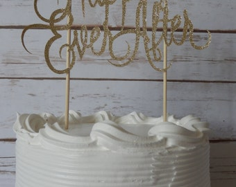 "Gold or Silver Glitter  ""Happily Ever After"" Cake Topper -  Wedding -  Bridal Shower - Engagement"