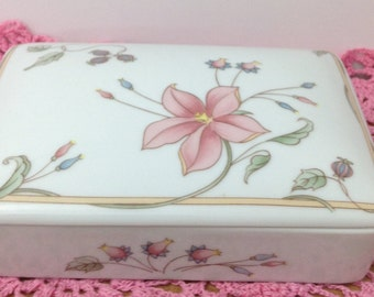 Porcelain Card Box China Card Box Vintage Card Box China Trinket Box Porcelain Trinket Box Stash Box Floral China Box