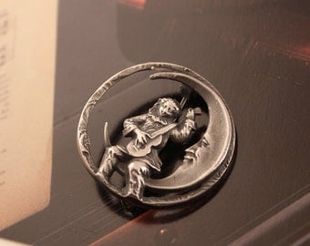 Sterling Silver Man on the  Moon Pin   925 Crescent Moon Fanciful Brooch