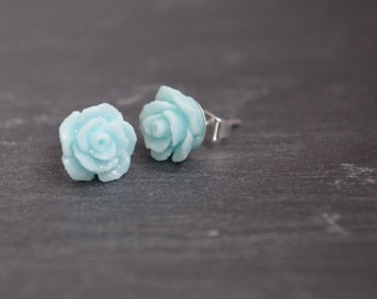 Blue Flower Stud Earrings  Delicate Post Earrings Shabby Chic Girl Earrings Blue  Flower Earrings Blue Flower Stud Chrictmas gift