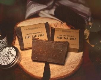 PINE TAR Soap - A Classic Pine Tar Soap for the Perfect Clean! (3.5-ish oz - Made in Canada) Beard Wash, Beard Soap, Body Soap, Soap Bar,