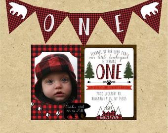 Lumberjack First Birthday Photo Invitation, Little Lumberjack Turning One, Flannel Birthday Invite, One Banner, Printable Party Invitation