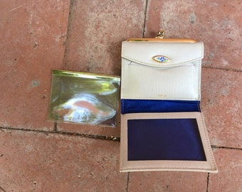 FREE SHIPPING - Vintage White Leather Wallet - Bi Fold Womans Wallet - Small Wallet - WAL-10