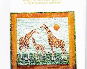 Giraffe Family ~ Patterns to Make a Raw Edge Applique Quilt ~ also Animal Print Fabric