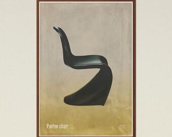 Panton chair - Mid Century Modern, Scandinavian Modern, chair poster, printable art, furniture art, modern art, instant download