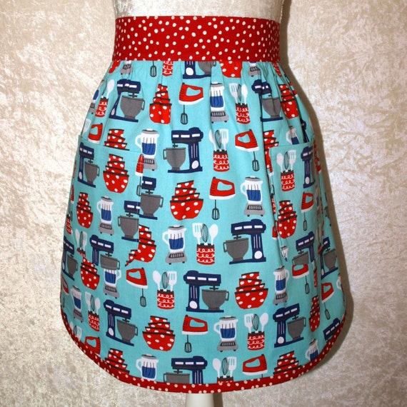 Vintage Kitchen Half Apron Women's Retro By GreenAcornKitchen