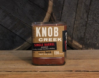 Knob Creek Single Whiskey Candle Upcycled Bourbon Bottle Soy Candle 750ml Reused Glass Bottle 18oz Soy Wax Bourbon Whiskey Gift for Him