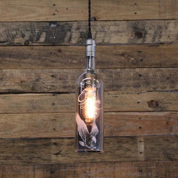 Eagle Rare Bourbon Bottle Pendant Light - Upcycled Industrial Hanging Light - Handmade Bottle Light Fixture, Dorm Lighting, Apartment Light