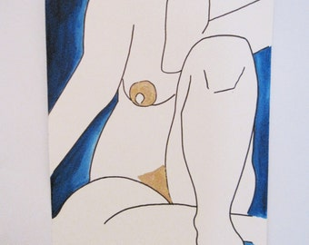 Naked woman sitting, front view / Ink & Gold leaves