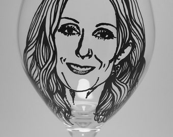 Celine Dion, Singer, Hand Painted Glass, Painted Wine Glasses
