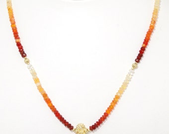 BN138- Wire-sculpted Orange Fire Opal pendant on a necklace of graduated color Fire Opal beads