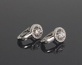 White gold earrings, Cz earrings, Elegant earrings, Small earrings, Delicate earrings, Round earrings, Geometric earrings, Halo earrings