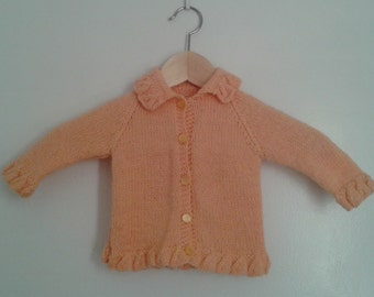 Vintage 1950's Baby Girls' Hand Knit Wool Apricot Peach Cardigan Sweater Ruffle Trim Sz 9 -12 Mo