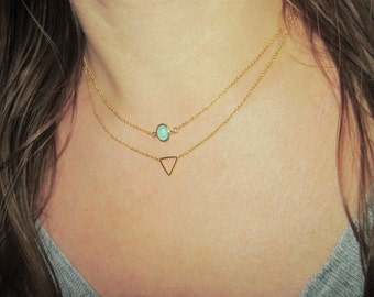 Gold Framed Mint stone Necklace / Mini Mint Charm Neclace / Stone Jewelry / Dainty Jewelry / Mint Jewelry / N266