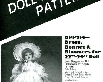"FREE US SHIP Poissot Doll Dress Pattern dpp214 22 24 "" Dress Bonnet 1994 Sewing Pattern Insert From Dollcrafter Vintage Magazine"