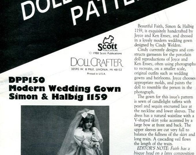 FREE US SHIP Poissot Doll Dress Pattern 1988 dpp150 Modern Wedding Gown Insert From Dollcrafter Vintage Magazine