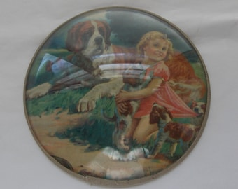Picture of saint bernard dog w/puppies and little girl. round picture in-closed in plastic frame