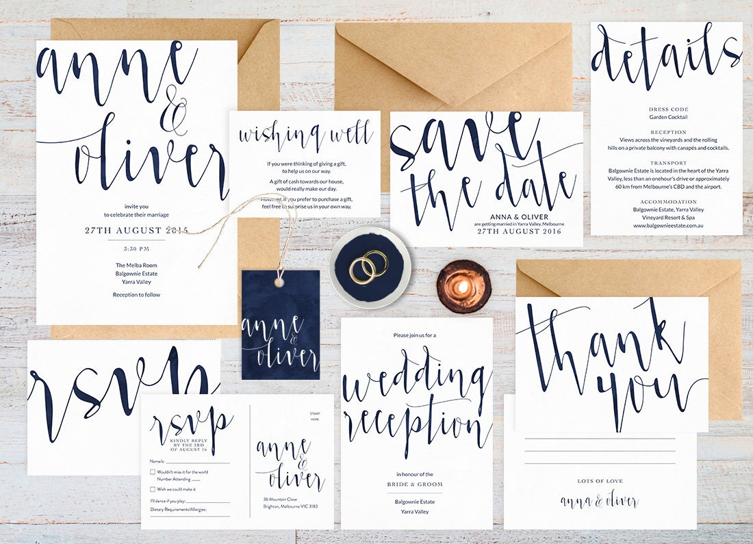 Navy wedding invitation set, Wedding suite, Wedding stationery, Printable wedding invitation, Navy wedding invites, Simple modern invitation
