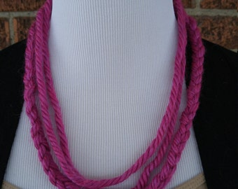The Lea- Handmade Braided Yarn Necklace - Pink braided necklace
