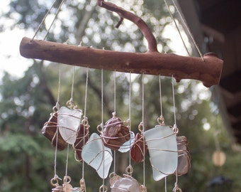 Sea glass wind chime / Sun catcher / Mobile