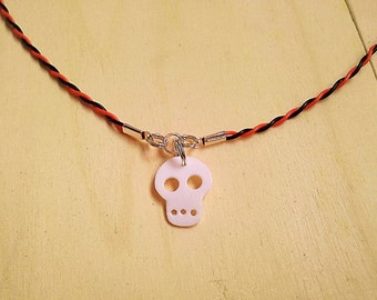 Recycled plastic bottles Skull Halloween necklace ecofriendly upcycled handmade jewelery by RecuperArte