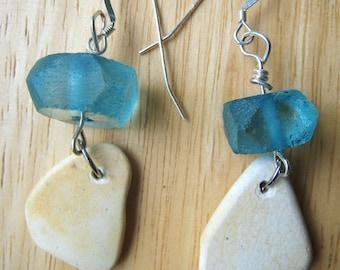 Sea Pottery Earrings/Aqua Beads/Sterling Silver/Surf Tumbled Maine/Shard