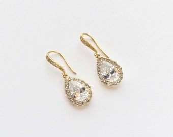 Gold Wedding Earrings Cubic Zirconia Tear drop Earrings Bridal Crystal CZ Earrings Bridal Jewelry