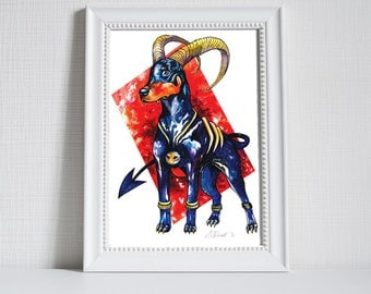 Pokemon Print - Houndoom - Print of Original Water colour Painting and Pen Drawing