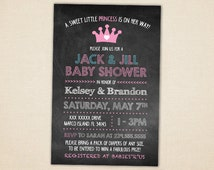 jack and jill baby shower invitation chalk lettered chalkboard